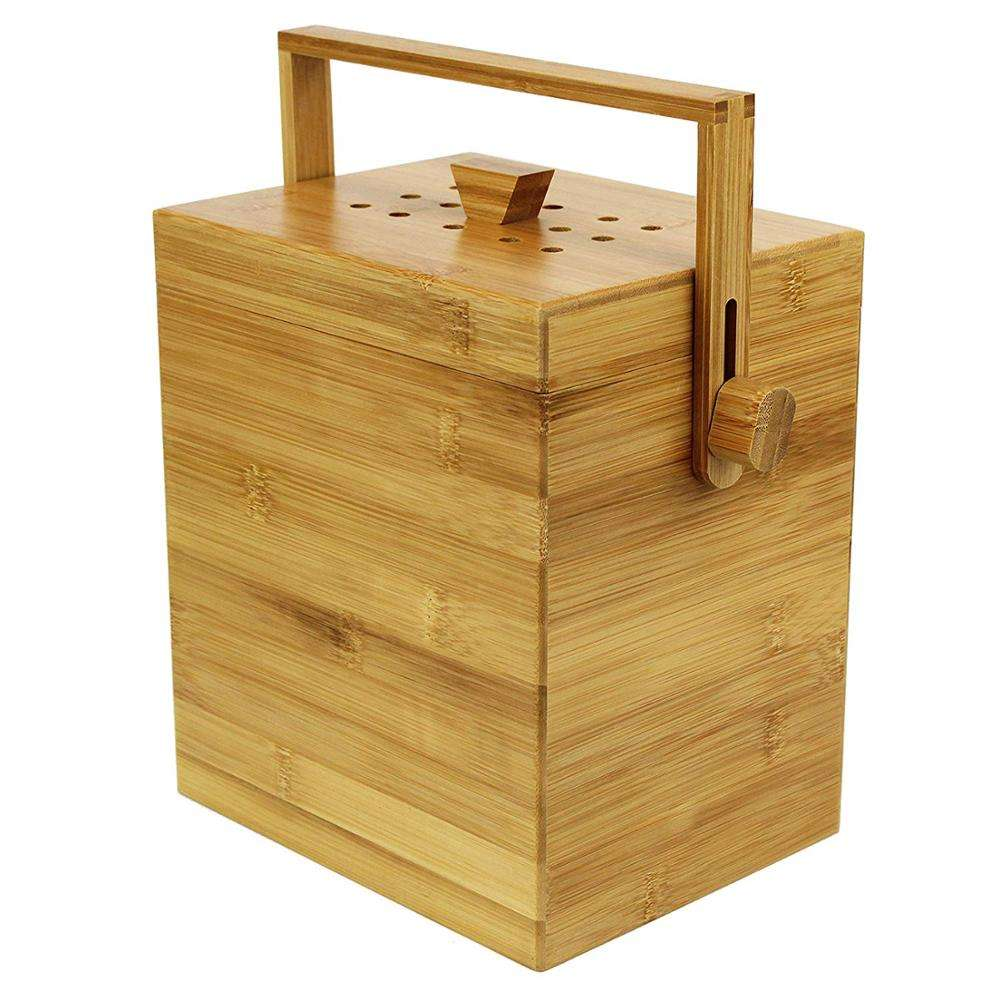 Wooden Bamboo Kitchen Compost Caddy Bin with Food Waste Recycling (4 Litre) 4L