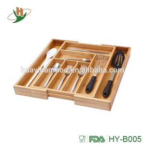 Durable 100% Eco Friendly kitchen drawer organizer bamboo wooden extending utensils and cutlery tray