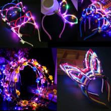 Led Bunny Ear Cat Ears LED Headbands Party Light Flashing Blinking Party Wear Hair Glow Party Concert Night Club Halloween