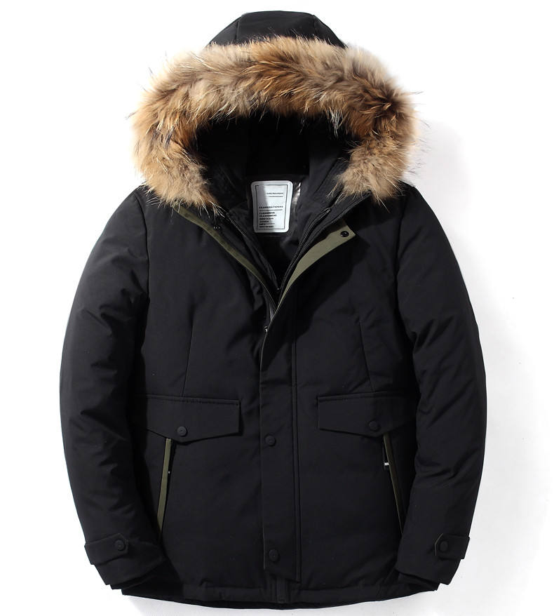 Black Winter Jacket with Hoody Men Fur Parka for Winter Clothing