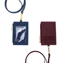 genuine saffiano leather lanyard work ID card holder with long strap