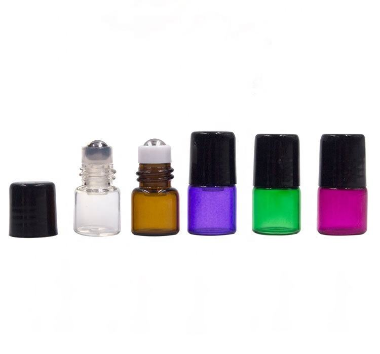 Wholesale mini 1ml 2ml 3ml 5ml glass roll on bottle with metal roller