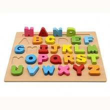 Popular hot selling wooden alphabet letter toddler jigsaw puzzle kids education wooden toys