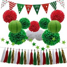 33pcs Christmas Party Decorations Supplies Set for Bridal Baby Showers Birthday Events (White, Red, Green)