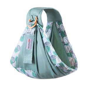 Factory wholesale soft breathable cotton green leaves pattern baby wrap carrier slings