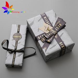 Fashion Custom Brand Name Logo Satin Printing Ribbon in Roll for Gift Packing