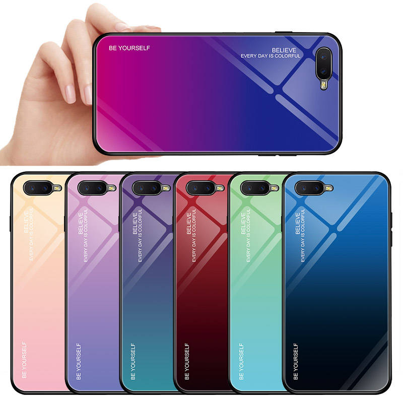 Hot Selling New Style Fashion Gradient Tempered Glass Back Case For oppo R17 R17 Pro Find X K1 F11