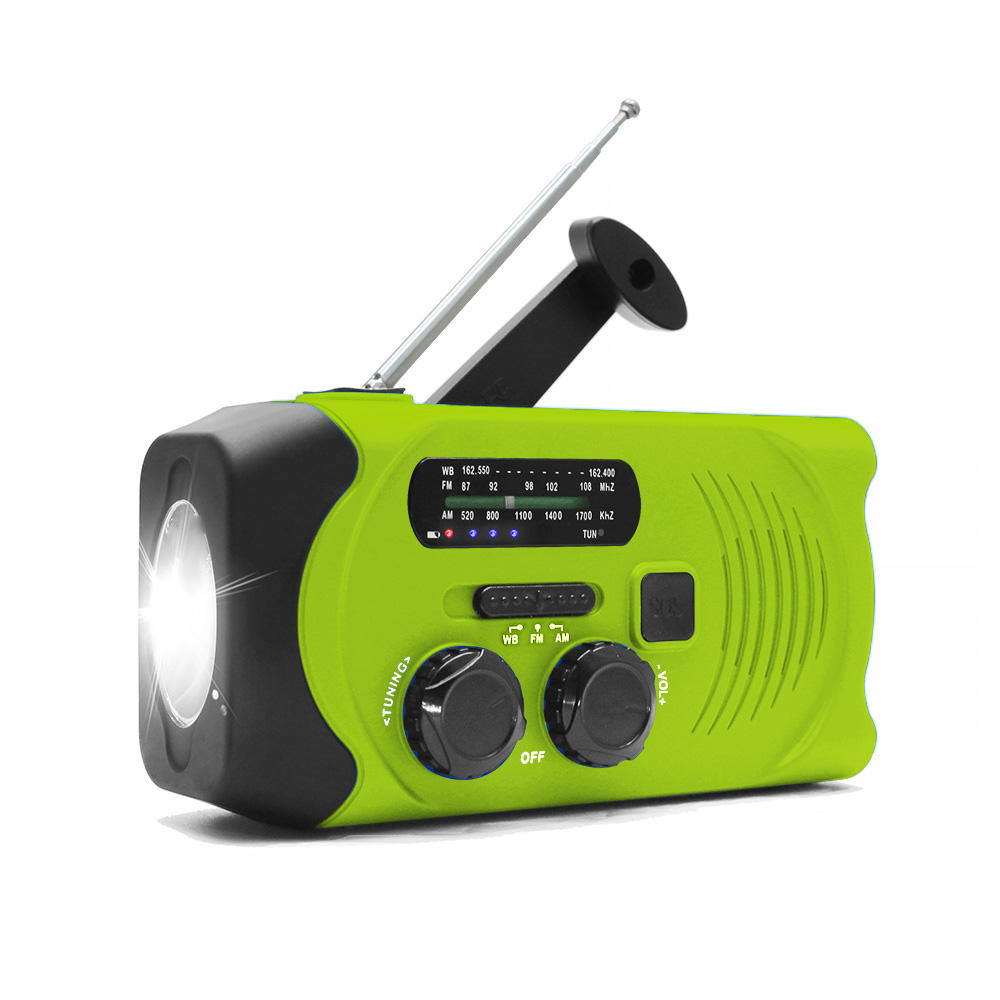durable usb charging waterproof emergency light noaa am fm mini pocket radio with solar panel