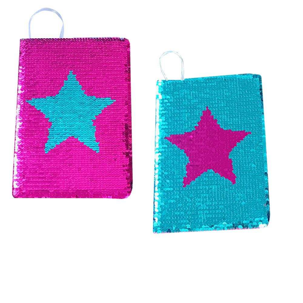 Reversible Sequin Notebook with Star Pattern,A5 Paper,Pink Blue Color Change,Diary and Unique Gift for Kids