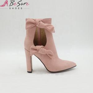 Мода зима розовый замша Новое поступление высокие каблуки ботильоны для женщин