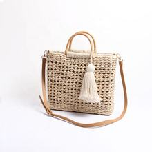 Women's simple and fashionable tassel summer tote shoulder bag rattan straw woven ladies beach handbags