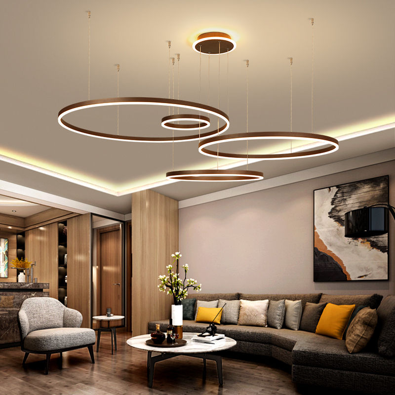 Brown Ring Acrylic Chandelier 4 Circles Living Room LED Chandelier Hotel Project Light