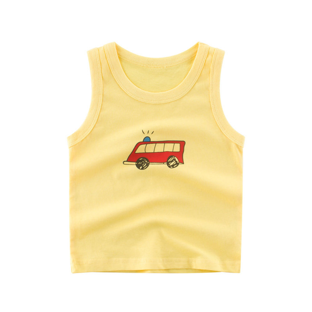 Mudkingdom toddler baby summer cotton printed yellow vest for boy