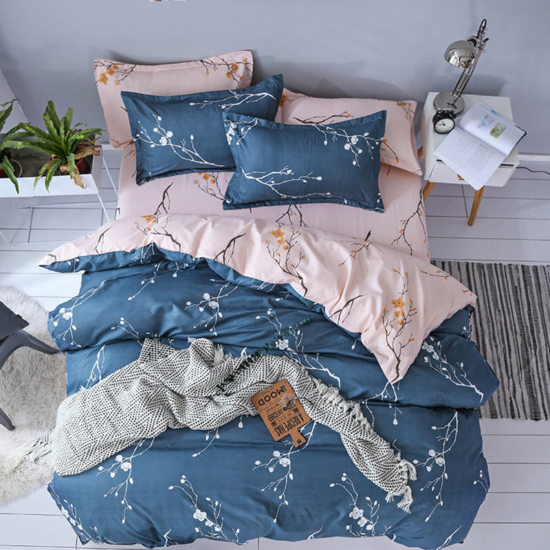 2020 White Blue Branches Bed Duvet Cover Set Microfiber Polyester Bedding With Flat Sheet