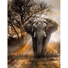 wholesale 5d Diy Diamond Painting Cross Stitch Elephant Full Drill Mosaic Picture Diamond Embroidery Home wall Decor