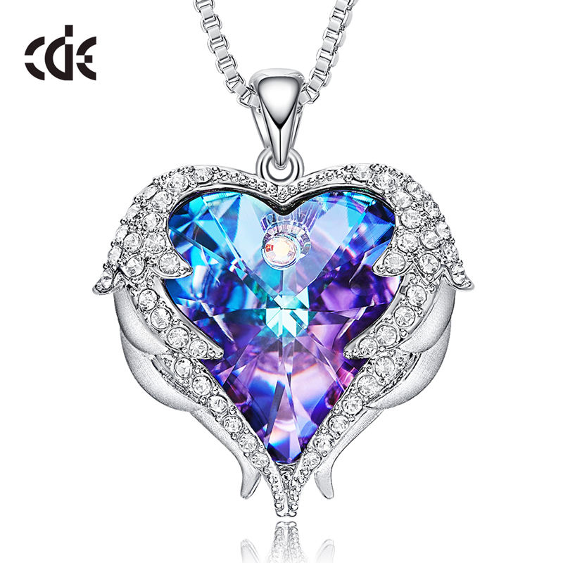 CDE China Personalized Dainty Jewelry Heart Crystal Fashion Necklaces For Women 2020