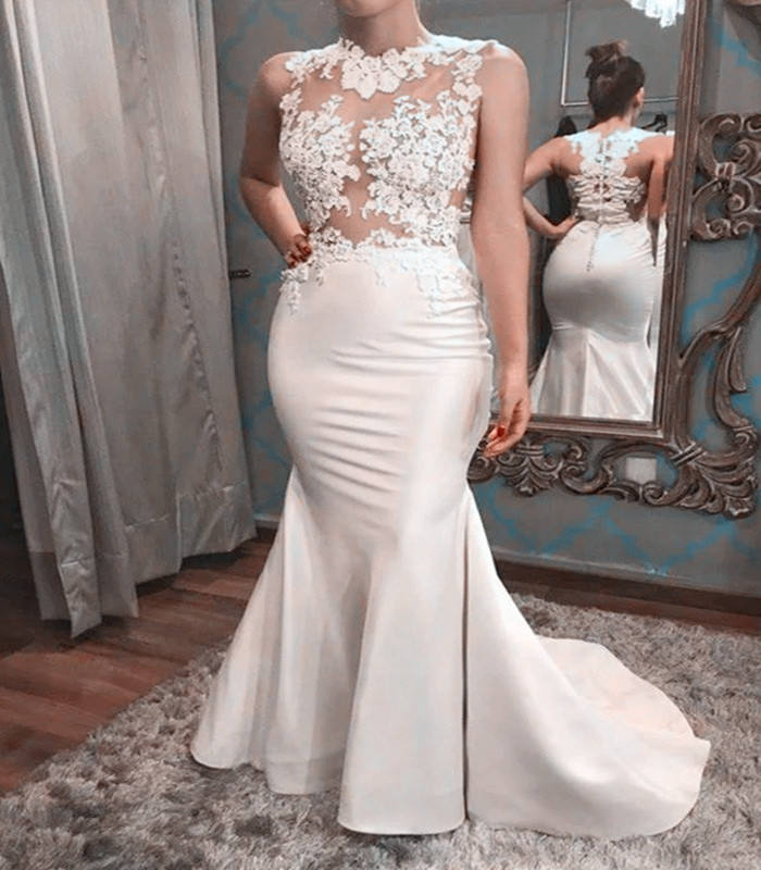 Sexy Transparent Lace Bodice Satin Wedding Dress Bridal Gown Mermaid Wedding Dresses 2019 vestido de noiva New Wedding Gown