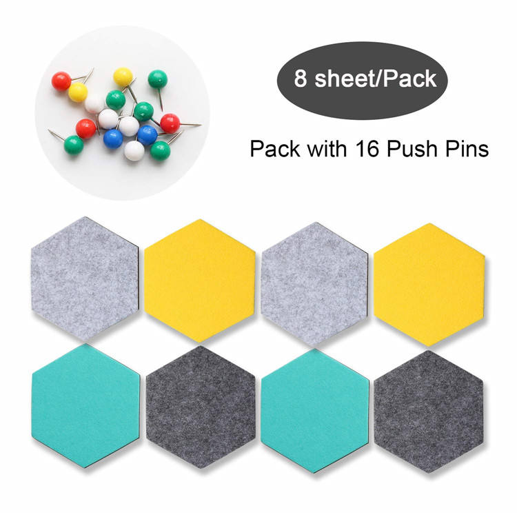 Foam Wall Decorative Tiles Hexagon Felt Board Tiles Felt Pin Board Self Adhesive Bulletin Memo Photo notice Cork Boards