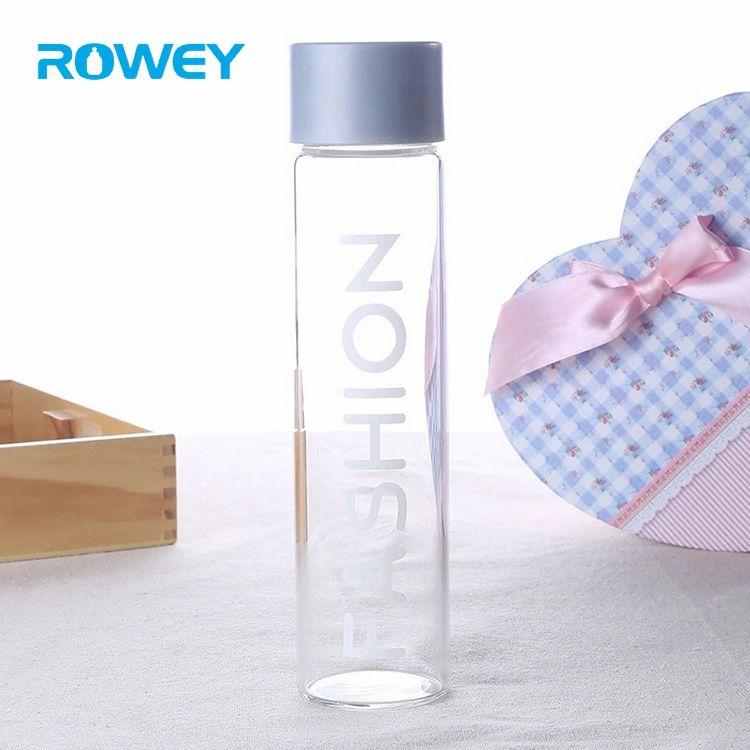 Cuello ancho nueva portátil siempre tuyo agua 400 ml cilindro blanco deporte Voss botella de vidrio
