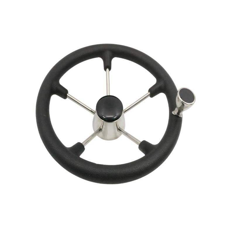 13-1/2'' Boat Marine 5 Spoke Destroyer Steering Wheel with Black Foam Grip Knob