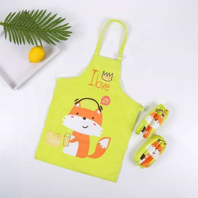 Children Cartoon Waterproof Painting Apron Sleeves Set with charming colours