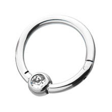 Bezel Set Surgical Steel  Clear Gemstone Hinged Segment Nose Ring