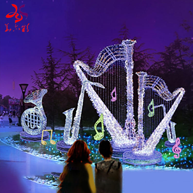 Outdoor sculpture motif decorative frame led musical instruments note light