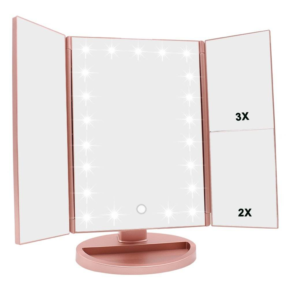 Cosmetic Make up Led Makeup Mirror with Lights USB Charging Foldable 22 Light Magnifying Makeup Mirrors