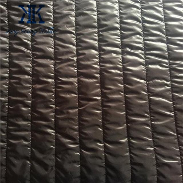 quilted nylon jacket lining fabric / 5cm parallel line cire coating waterproof downproof nylon quilt jacket fabric