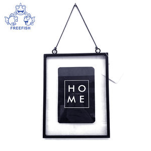 Clear Glass Picture Frame Wall Hanging Photo Plant Specimen Clip Metal Geometric Vertical Decor Card Holder Display