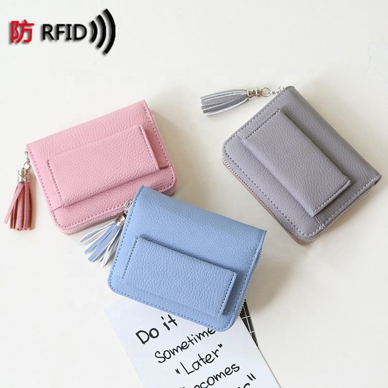 MIYIN Lady's Wallet Decorated with RFID tassels women Korean Student Short Wallet Zero Wallet ladies coins Travel bags
