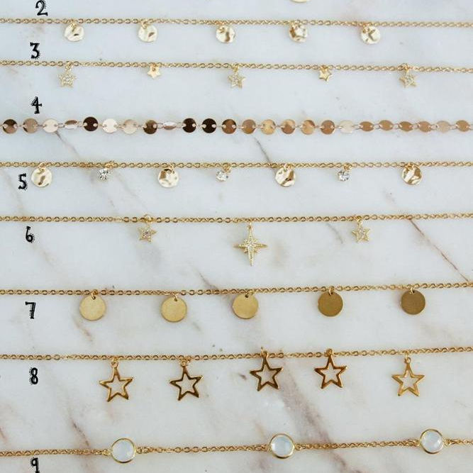 stainless steel Golden chokers, dainty necklaces, moon phases, coins, opal link, gift for women.