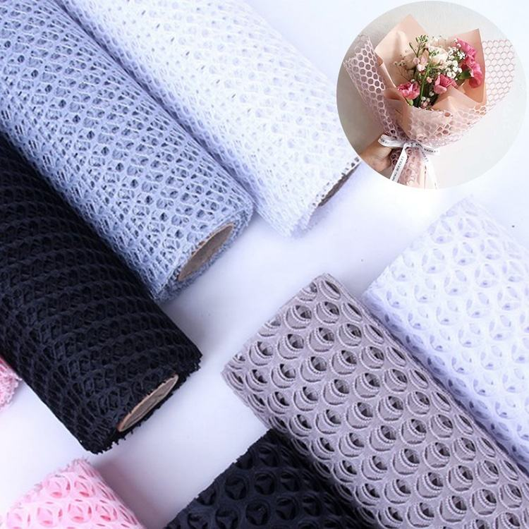 Waterproof 100% Polyester fabric material florist accessories plastic floral decor flower wrapping mesh for Bouquet