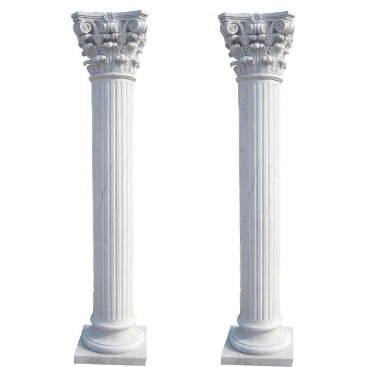 Pure White Decorative Customized Garden Wedding Stone Column