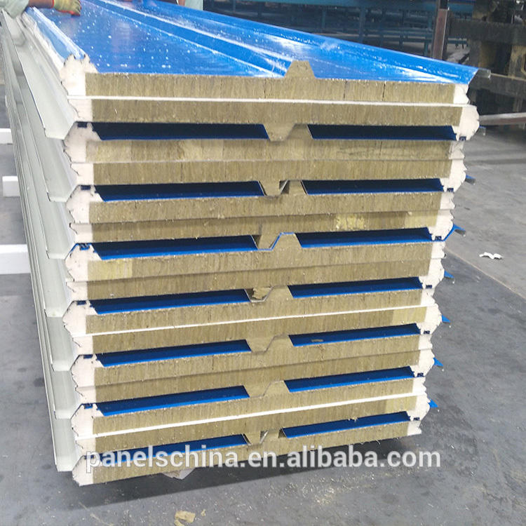 Manufactory direct rock wool sandwich panel roof sheet heat insulation first grade sip Hot selling high quality