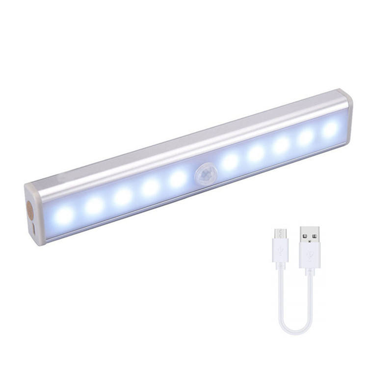 LED Rechargeable Motion Sensor Night Light pir with Stick-on Magnetic Strip for Closet Wardrobe Cabinet