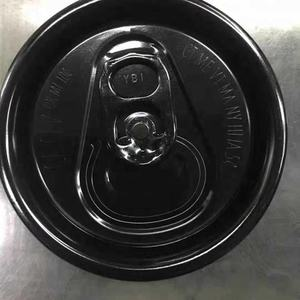 black color 200# 202# 206# SOT PRT aluminum can lids with carving wards and RQ code color ring pull tab for easy open can