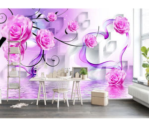 Gorgeous Rose reflection 3D murals hot pink flower decoration sofa bedroom Wall Mural for Interior