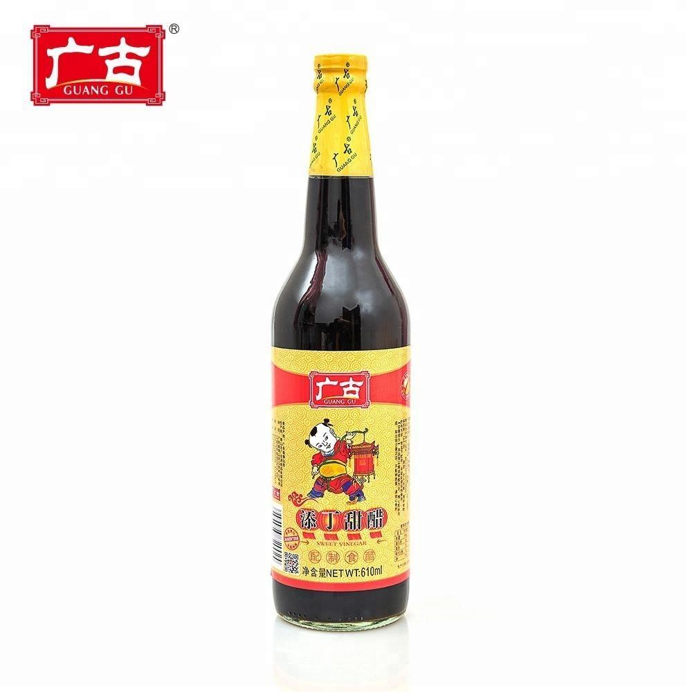 610 мл * 12 бутылка китайский вкусный приправы уксус натуральный ферментированный черный рисовый уксус