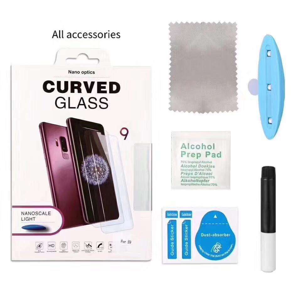 UV Glue 3D Curved Full Cover Tempered Glass Screen Protector For Samsung S9 Plus,UV Glass for S9 Plus