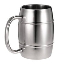 Stainless steel metal Mug Double wall silver tankard beer mug with handle coffee mug manufacturer