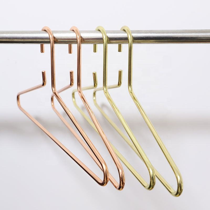 2019 Trending Amazon Heavy Duty Thick Plated Finishing Rose Gold Copper Wire Metal Coat Clothes Hanger