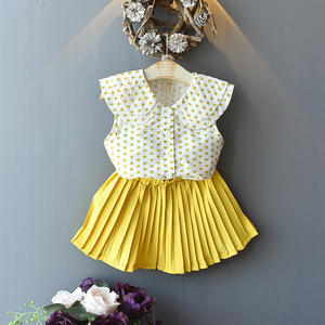 children boy boutique outfit with summer new Korean style children dolls sleeveless lapel shirt pleated skirt