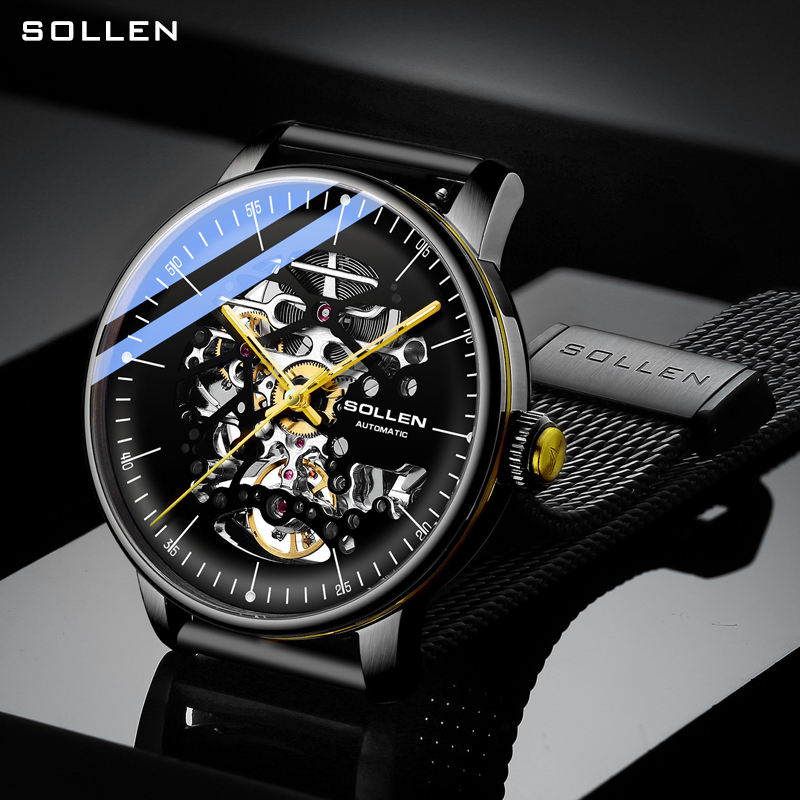 SOLLEN 2020 automatic mechanical luxury watch men's high quality movement hollow design waterproof