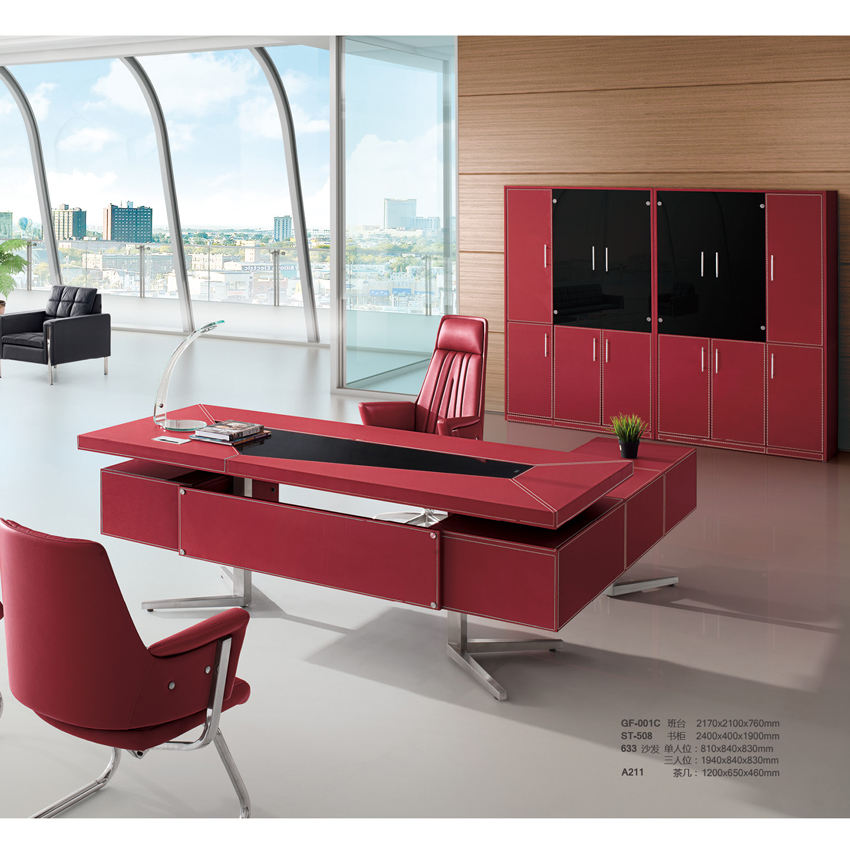High quality cheap price black office modern executive leather top office desk