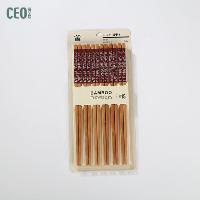 Custom printed 100% natural reusable Wooden bamboo lacquer-free Chopsticks