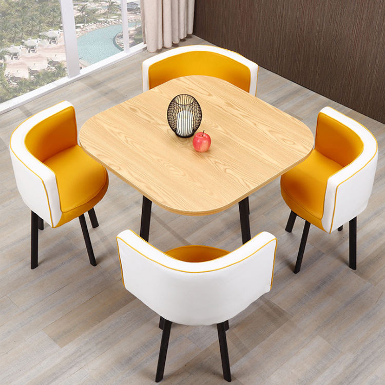 PU leather chair coffee house square shape table set with 4 chairs