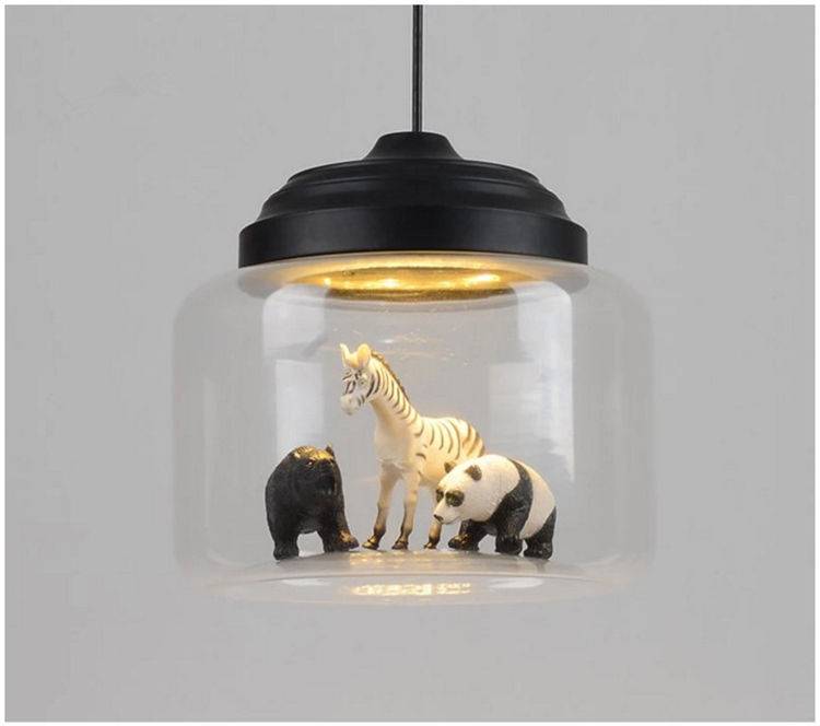 Bar Restaurant Cafe Individual light Nordic Creative Animals Cartoon Glass metal pendant Light