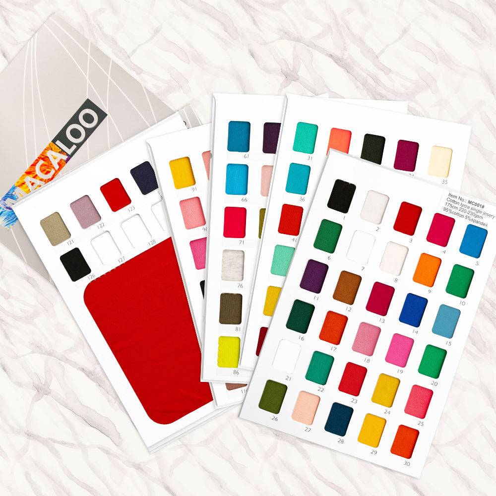 Solids cotton lycra single jersey knit fabric swatch and color card
