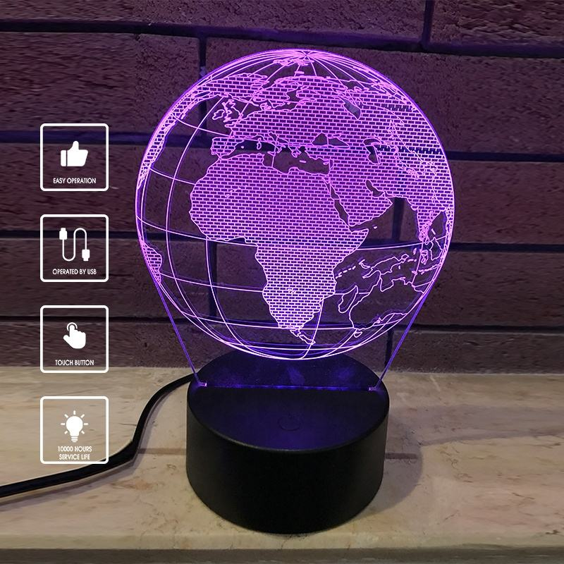 Touchable Switch 7 Color Changed Globe Night Light USB acrylic 3d led lamps base 3d optical illusion lamp